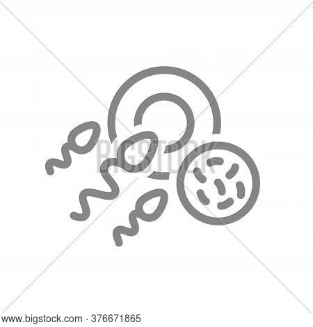 Egg And Sperm With Bacteria Line Icon. Fetal Abnormalities, Medical Abortion Symbol
