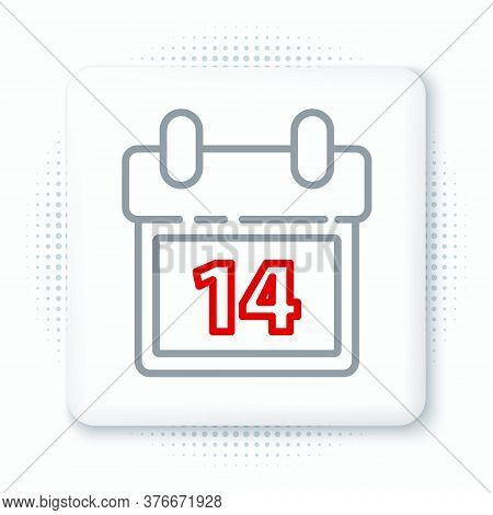 Line Calendar With February 14 Icon Isolated On White Background. Valentines Day. Love Symbol. Color