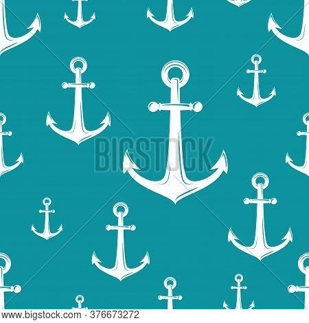 Nautical Seamless Pattern With White Helms And Anchors On Blue.