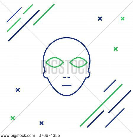 Line Alien Icon Isolated On White Background. Extraterrestrial Alien Face Or Head Symbol. Colorful O