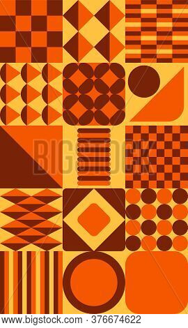 Sixties And Seventies Retro Pattern. Orange, Brown And Yellow Geometric Vintage Tiles Background Wit