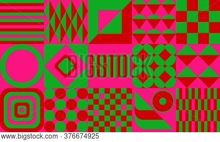 Extremely Strong Color Contrast. Green, Red, Pink Geometric Pattern Background With Squares And Circ