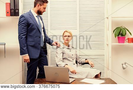 Love Affair At Work. Banned Relations At Work. Sexual Assault At Workplace. Woman Office Secretary S