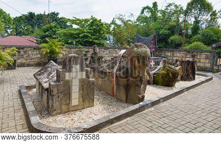 Lake Toba, Indonesia - Circa February, 2019: Batak Traditional Graveyard At Tomok Village, Lake Toba