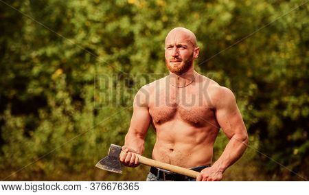 Man Brutal Sexy Carry Axe. Brutality Is New Sexy. Strength And Power Concept. Masculine Leisure. Sex