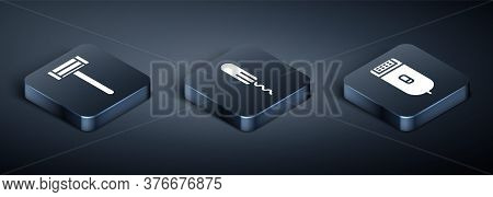 Set Isometric Shaving Razor, Electrical Hair Clipper Or Shaver And Sanitary Tampon Icon. Vector