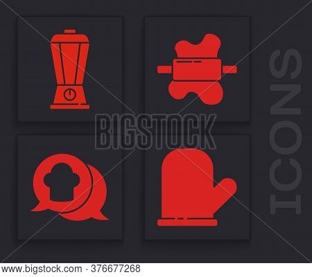 Set Oven Glove, Blender, Rolling Pin On Dough And Chef Hat In Speech Bubble Icon. Vector