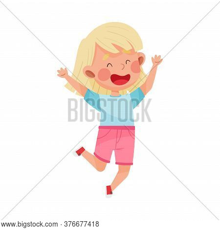 Happy Girl Character With Blonde Hair Jumping High With Joy And Excitement Vector Illustration