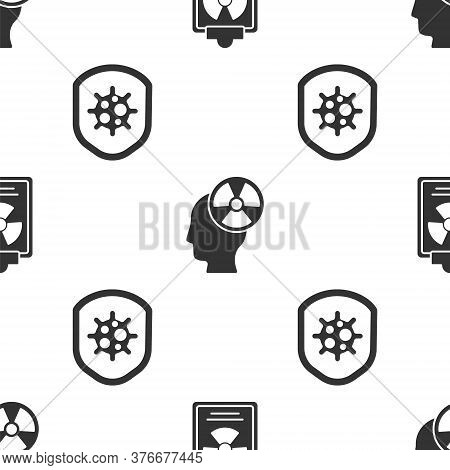 Set Radiation Warning Document, Head And Radiation Symbol And Shield Protecting From Virus On Seamle