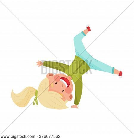 Girl Character Turning Somersaults And Standing Upside Down Joyful And Excited Vector Illustration