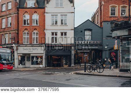 London, Uk - July 02, 2020: Shop, Restaurant And Everyman Cinema On A Street In Hampstead, Selective