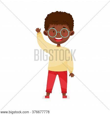 Smiling Boy Character Greeting Waving Hand And Saying Hi Vector Illustration
