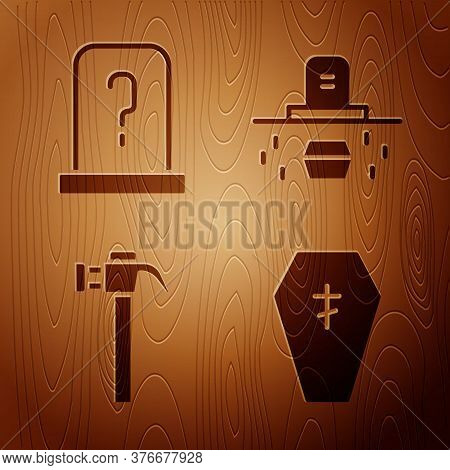 Set Coffin With Cross, Grave With Tombstone, Hammer And Grave With Coffin On Wooden Background. Vect