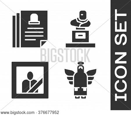 Set Christmas Angel, Death Certificate, Mourning Photo Frame And Grave With Tombstone Icon. Vector