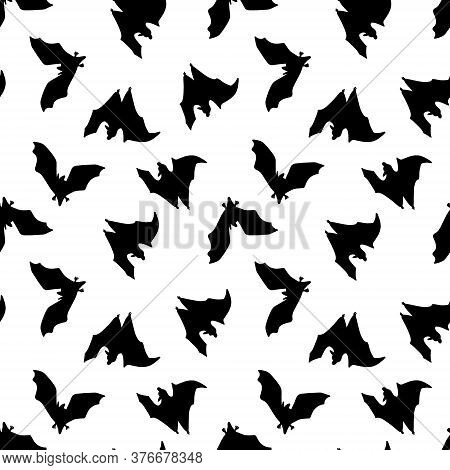 Seamless Pattern Of Bats. Black Bats On A White Background.design For Halloween, Printing, Blogs, Gr