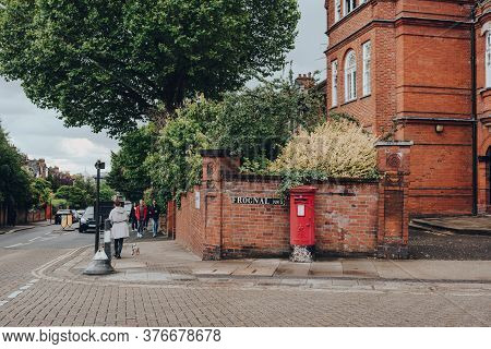 London, Uk - July 02, 2020: Red Postbox On The Corner Of Arkwright And Frognal Streets In Hampstead,