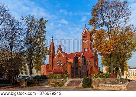 Church Of Saints Simon And Helena (red Church), Minsk, Belarus
