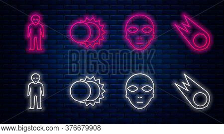 Set Line Eclipse Of The Sun, Alien, Alien And Comet Falling Down Fast. Glowing Neon Icon On Brick Wa