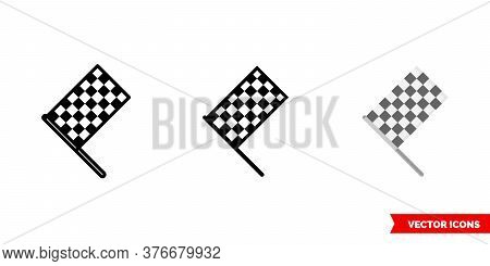 Chequered Flag Icon Of 3 Types. Isolated Vector Sign Symbol.