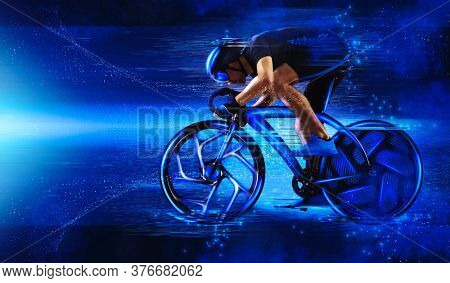Man racing cyclist in motion on dark blue background. Sports banner. Horizontal copy space background