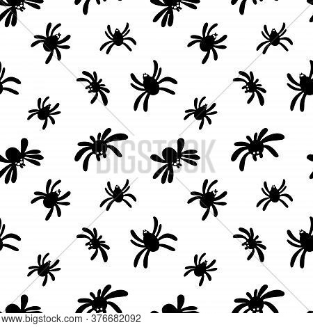 Seamless Pattern Of A Black Spider Silhouette On A White Background. Cute Spider Pattern.template Of