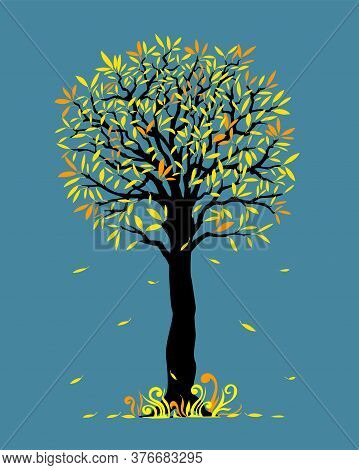 Vector Illustration Black Tree With Yellow And Orange Leaves. Falling Leaves  And Doodle Grass. Cart