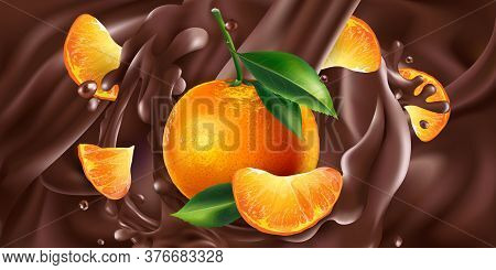Whole And Sliced Mandarins In Liquid Chocolate.