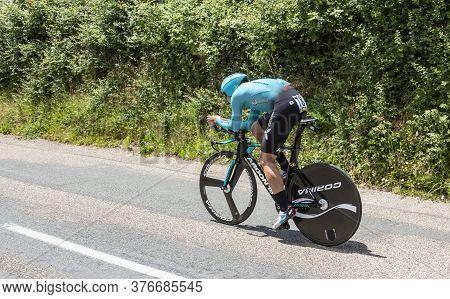 Bourgoin-jallieu, France - 07, May, 2017: The Danish Cyclist Michael Valgren Of Team Astana Riding D