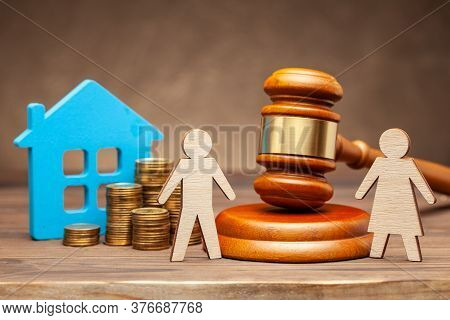 Divorce By Law. Division Of Property After A Divorce. The Wife Is Trying To Sue Her Husband For Prop