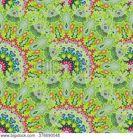 Medallion Floral Seamless Pattern. Indian Folk Vector Composition. Complex Damask Medallion Flower S