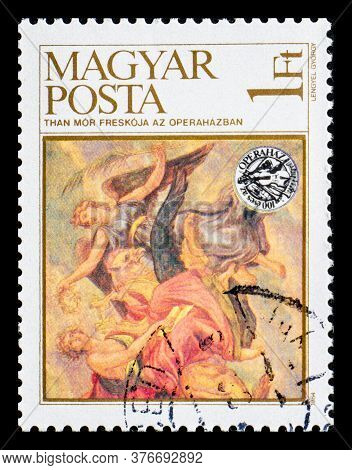 Hungary - Circa 1984: A Postage Stamp From Hungary Showing Than Mor Painting