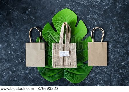 Ecological Choices And Environmental Awareness Concept, Paper Bag With Susutainable Products Label O