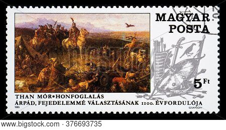 Hungary - Circa 1989: A Postage Stamp From Hungary Showing Than Mor Painting