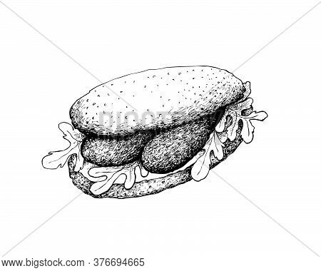 Illustration Hand Drawn Sketch Of Delicious Homemade Freshly Baguette Sandwich With Sausage, Tomatoe