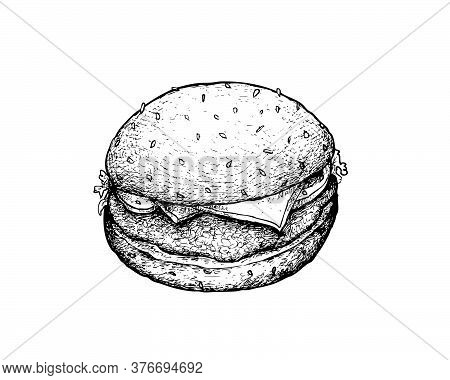Illustration Hand Drawn Sketch Of Delicious Pork Burgery With Lettuce, Tomato, Onions And Cheese On