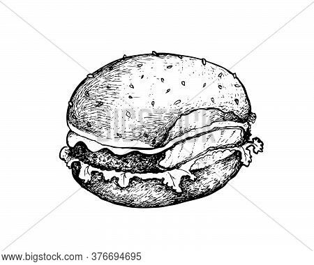 Illustration Hand Drawn Sketch Of Delicious Fish Burger Or Filet-o-fish With Lettuce And Cheese On W