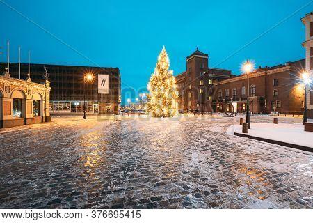 Riga, Latvia - December 14, 2016: Winter Night View Of Museum Of The Occupation Of Latvia, Xmas Chri