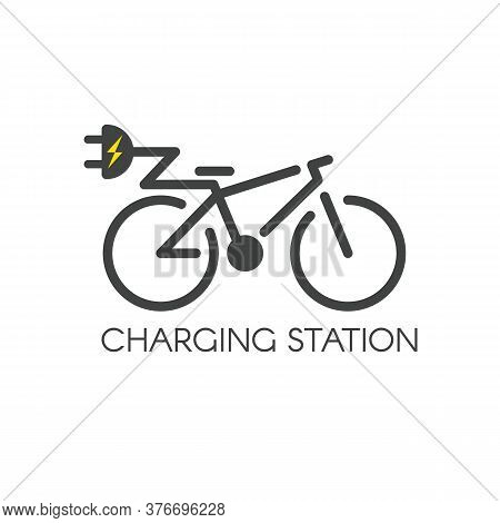 E-bicycle Charging Station Icon. Electric Bicycle Symbol. Charge Point Pictogram. Vector Illustratio
