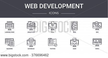 Web Development Concept Line Icons Set. Contains Icons Usable For Web, Logo, Ui Ux Such As Analytics