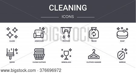 Cleaning Concept Line Icons Set. Contains Icons Usable For Web, Logo, Ui Ux Such As Armchair, Trash,