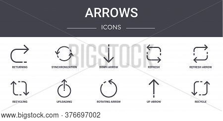 Arrows Concept Line Icons Set. Contains Icons Usable For Web, Logo, Ui Ux Such As Synchronization, R