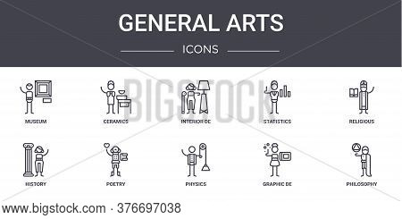 General Arts Concept Line Icons Set. Contains Icons Usable For Web, Logo, Ui Ux Such As Ceramics, St
