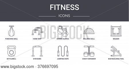 Fitness Concept Line Icons Set. Contains Icons Usable For Web, Logo, Ui Ux Such As Hand Grip, Balanc
