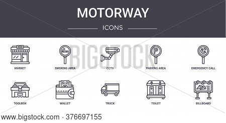 Motorway Concept Line Icons Set. Contains Icons Usable For Web, Logo, Ui Ux Such As Smoking Area, Pa