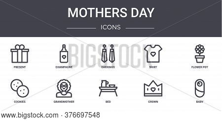 Mothers Day Concept Line Icons Set. Contains Icons Usable For Web, Logo, Ui Ux Such As Champagne, Sh