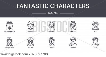 Fantastic Characters Concept Line Icons Set. Contains Icons Usable For Web, Logo, Ui Ux Such As Fire