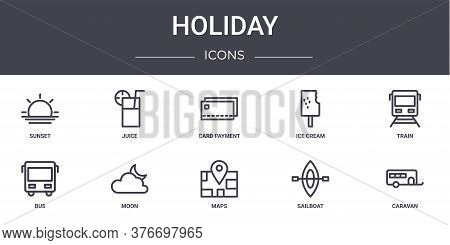 Holiday Concept Line Icons Set. Contains Icons Usable For Web, Logo, Ui Ux Such As Juice, Ice Cream,