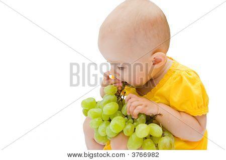 Little Baby Girl Eats Big Grapes