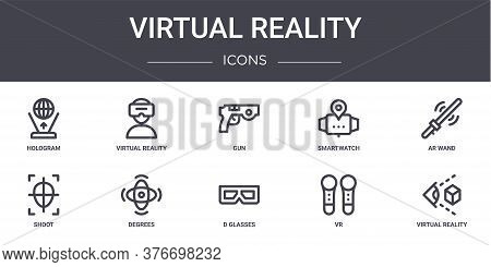 Virtual Reality Concept Line Icons Set. Contains Icons Usable For Web, Logo, Ui Ux Such As Virtual R