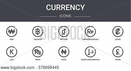Currency Concept Line Icons Set. Contains Icons Usable For Web, Logo, Ui Ux Such As Thai Baht, Indon